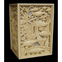 Artificial Sandstone Fish Carved Design Square Pedestal