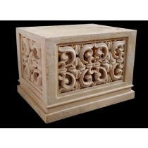 Artificial Sandstone Floral Design Rectangle Pedestal