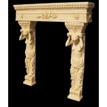 Artificial Sandstone Hand Carved Lady Design Fireplace