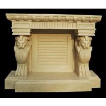 Artificial Sandstone Hand Carved Lion Design Fireplace