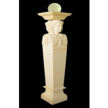 Artificial Sandstone Lady Pedestal Garden Lamp