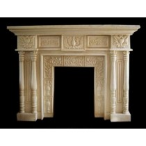Artificial Sandstone Square Floral Work Fireplace