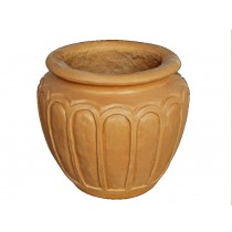 Artificial Yellow Sandstone Hand Carved Simple Flowerpot