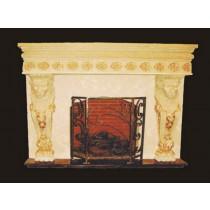 Artificial Yellow Sandstone Lion Pillar Fireplace