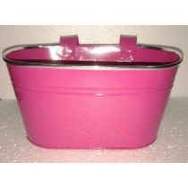 Pink Color 6 Inch Oval Metal Planters