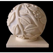 Sandstone Ball Shape Leaf Design Garden Lamp