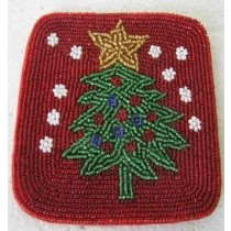 Beaded Christmas Costar 4X4 Inch Set of 6 Pcs
