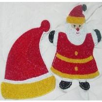 Beaded Christmas Costar Santa Claus Set of 6 Pcs