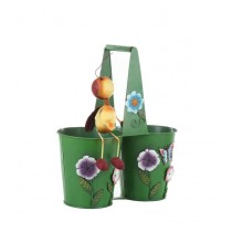 Metal Green 9 Inch Double Flower Pot