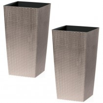 Beige Rattan Tall Planter With Square Plastic Liner