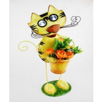Metal Cat Design Yellow Finish 57cm Planter