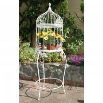 Large Bird Cage Shaped Metal Planter Stand