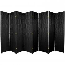 Black 6 Feet - Tall Woven Fiber 8 Folding Panel