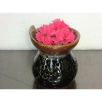 Black & Brown Ceramic Decorative Oil Burner(L 9.2 X W  9.2 X H 10.3 Cm)