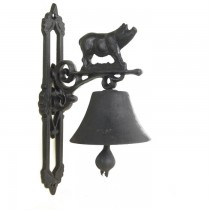 Black Cast Iron Pig Design Garden Bell