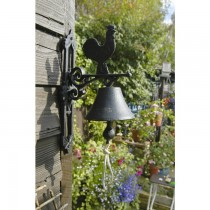 Black Cast Iron Rooster Design Garden Bell