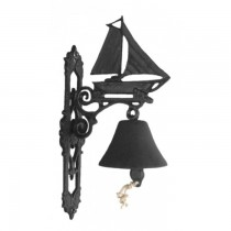 Black Cast Iron Sailboat Design Garden Bell