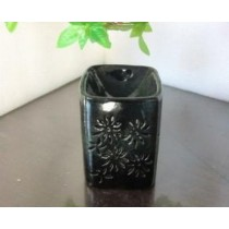 Black Ceramic Flower Carving Oil Burner