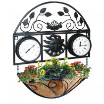Black Coated Wall Basket With Thermometer And Clock