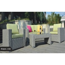 Black Decorative Garden Rattan Zigzag Pattern Sofa Set