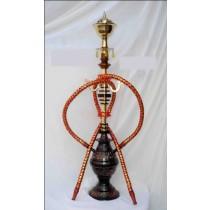 Black Designer Acrylic Glass Vase & Brass Hookah
