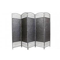 Black Diamond Weave Fiber Folding 5 Panel Screen