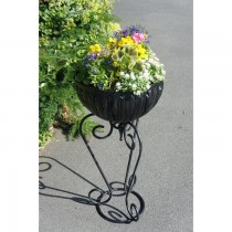Black Finish Hand Forged Wrought Iron Planter Stand