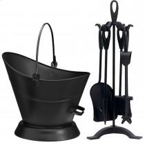 Black Fireplace Fireside Companion Set With Coal Bucket