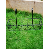 Set of 2 Black Rectangle MS Railing Planters