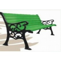 Black & Green Garden Three Seater Lawn Bench