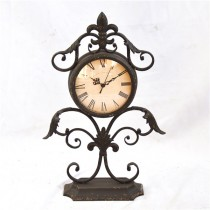 Black Hand  Curved Metal Antique Desk Clock