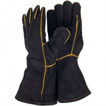 Black Leather & Cotton Garden Gloves