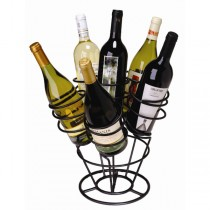 Black Metal 6 Bottle Tabletop Wine Rack