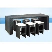 Black Modern Garden Rattan Dinning Set(6 Chair+ 1 Table)