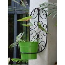 Black Oval Wall Pot Holder With Green Planter