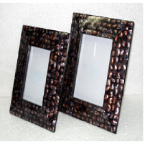 Black Photo Frame w/ tapered end (mother of Pearl)4 X 4 ""