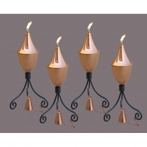 Black Powder Coated Iron Copper Garden Torch Set of 4 Pcs