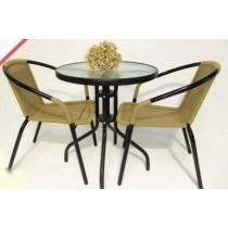 Black Powder Coating Garden Rattan Furniture Set