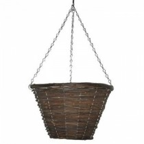 Black Rattan Bucket Planter With Steel Chain