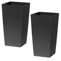 Black Rattan Tall Planter With Square Plastic Liner