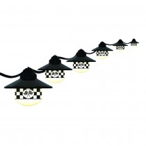 Black Shaded String Light Set with Checkered Flag