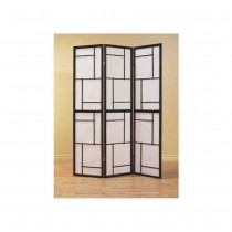 Black Solid Wood Frame 3-Panel Screen