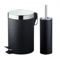 Black Stainless PVC Coated Decorative Bin With Holder