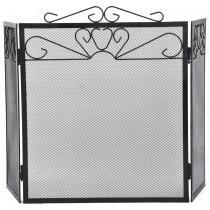Black Steel 3 Fold Fireplace Screen Panels
