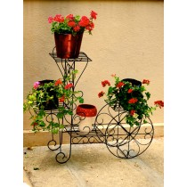 Black Traditional Trolley Style Pot Stand