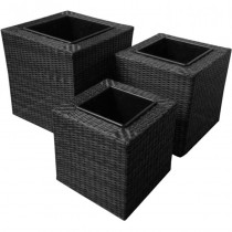 Black Trio Squared Rattan Planter Set of 3 Pcs