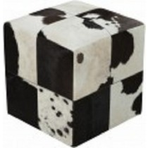 Black & White Cubes Design Leather Pouf
