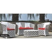 Black & White Floral Pattern Garden Full Sofa Set
