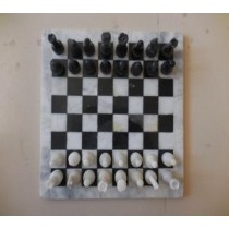 Black & White Marble Chess Board With Pawn