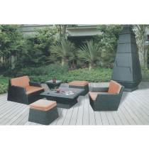 Black With Orange Cushion Garden Sofa Set